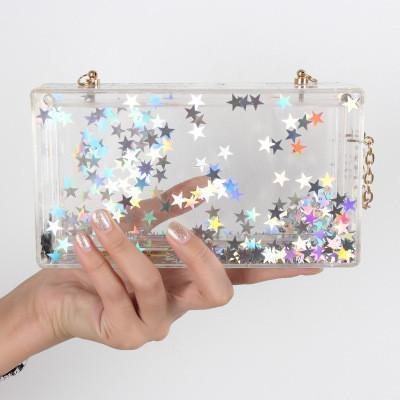 Image of Star Clear Acrylic Lucite Box Clutch