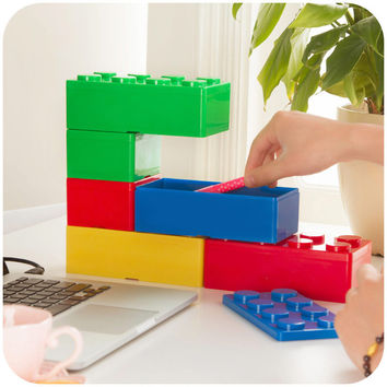 Vanzlife creative building blocks superimposed on the desktop storage boxes women cosmetics boxes office stationery box