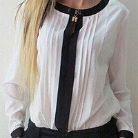 White Contrast Collar Pleated Chiffon Long Sleeve Blouse