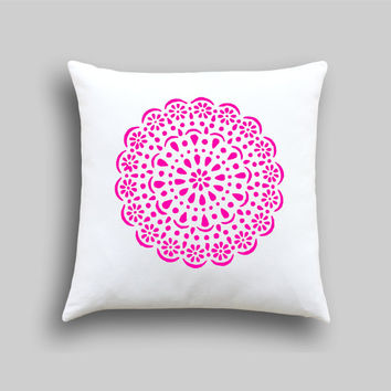 Neon Pink Doily Designer Cushion Cover, Neon Pillow cover. Vintage Doily in Gold Pillow Slip Decor,Pink Girls Bedroom Decor