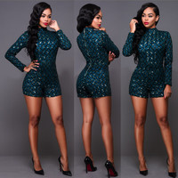 High Neck Long Sleeve Sequined Blue Romper