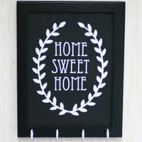 Home sweet home sign-Key holder,Hand made,Black and white Key rack, Wall decor with leaf decor, Home decor design, Simple Housewarming gift.