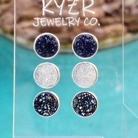 Druzy earring set- Navy/ White and Metallic ice blue drusy stud set