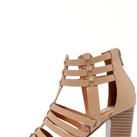 Take a Stand Natural Studded Caged Heels