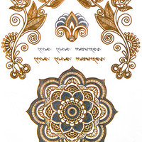 Temporary Tattoo Exotic Silver Waterproof Metallic