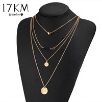 17KM Fashion Multi-layer Necklaces simulated Pearl Crystal Beads Coin Hand Cross Chain Steampunk Mujer Chain Necklace