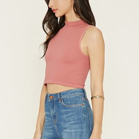 Mock Neck Textured Crop Top | Forever 21 - 2000186501