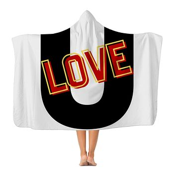 Love U Graphic Style Premium Adult Hooded Blanket