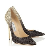 Black and Nude Coarse Degrade Glitter Pointy Toe Pumps | Anouk | Pre Fall 14 | JIMMY CHOO Shoes