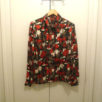 Multicolored Camouflage Secretary Blouse