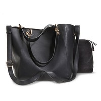 Women's Soft Tote Handbag with Accessory Pouch Included - Black