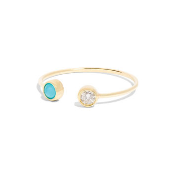 14k Yellow Gold Diamond and Turquoise Ring, Stacking Ring, Diamond Stacking Ring