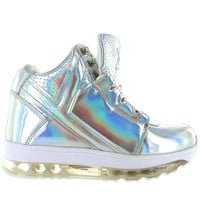 YRU Qozmo Aiire - Silver Hologram Light-Up Sneaker