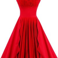 Atomic 1960's Vintage Red Pleated Cocktail Dress