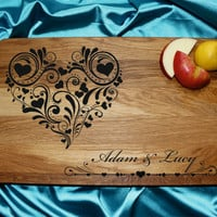 Wedding gift cutting board Newlyweds Names in Decorative Heart Frame Couples Names Anniversary Date Gift Newlywed Gift