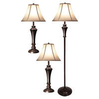 3-Piece Bell Shade Lighting Set with 2 Table Lamps and 1 Floor Lamp
