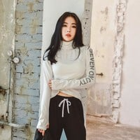HY SEVEN High Neck Long Sleeve Sports Shirts Pullover Solid Running Fitness Yoga Shirt For Women Workout Tops Inner Clothes