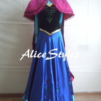 Diseny Costume Disney Princess Anna Costume Cosplay Costume Anna Dress With Cloak Custom Made