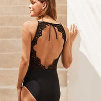 Aerie Lace Back One Piece Swimsuit , True Black