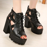 Summer punk black fashion platform shoes woman open toe sandals for women new summer ladies pumps high thick heels