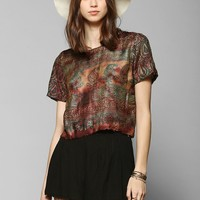 Staring At Stars Scarf Fringe Cropped Top - Urban Outfitters