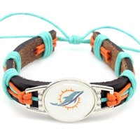 Hot Selling Miami Dolphins Football Team Leather Bracelet Adjustable Leather Cuff Bracelet For Men and Women Fans 10PCS
