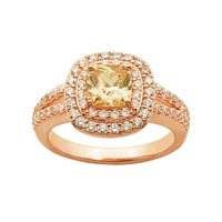 Champagne & White Cubic Zirconia 18k Rose Gold Over Silver Tiered Halo Ring (Brown)