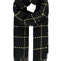 Fringed Grid-Patterned Scarf
