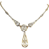 Art Nouveau 18K solid gold necklace, French stamped gold filigree chain, yellow gold jewelry, fully hallmarked