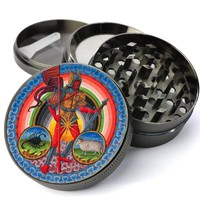 Medieval Mars Planetary Zodiac Deluxe Metal 4 Piece Herb Grinder With Fine Screen