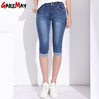 Mid Rise Blue Denim Knee Length Jeans