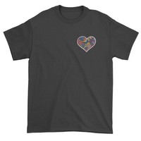 Embroidered Heart Flower Power Patch (Pocket Print) Mens T-shirt