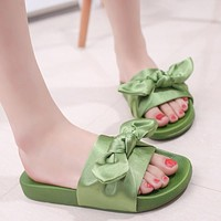 Silk Bow Slides Women Summer Beach Shoes Woman No Fur Slippers Flat Heels Flip Flops Ladies Bohemia Sandals PA912569