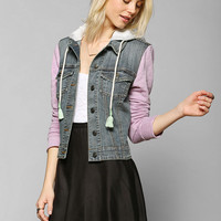 BDG Embroidered-Trim Hooded Denim Trucker Jacket - Urban Outfitters