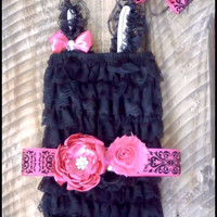 """Black Lace Romper, Petti Romper, Sash, Headband, Set ,Baby Girl, Toddler Girl Clothes, """" Lacy Little Lady"""""""