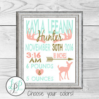 Hunting Theme Nursery Prints, Deer Nursery, Mint Nursery Decor, Deer Nursery Art, Hunting Nursery Theme, Baby Girl Gift, Baby Shower Gift