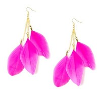 Feathers and Chains Drop Earrings  | Claire's