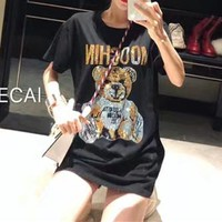 """Moschino"" Women Casual Personality Multicolor Space Bear Print Short Sleeve T-shirt Mini Dress"