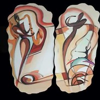 Jazz Inspired Painted Wall Hangings