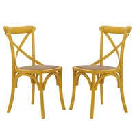 Furnistar Yellow Elm Wood Vintage-Style Dining Chairs (Set of two)
