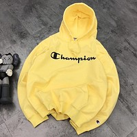 Champion New fashion letter print hooded long sleeve sweater top Yellow