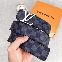 LV Louis Vuitton Fashionable Women Men Smooth Buckle Belt Leather Belt With Box