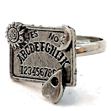 Ouija Board Spirit Witchy Gothic Wicca Occult Adjustable Ring