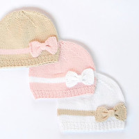 Newborn Knit Hat - Baby Girl Beanie - Infant Hats - Baby Photo Prop - Newborn Photo Prop - Pick Your Color
