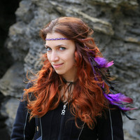 Gypsy Feather braided Hair Jewelry Earring indian outfit Headband Leather clip wild west Tribal Headpiece shaman warrior Festival Fashion