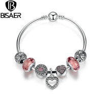 2016 New Simple Friendship Bracelets Silver Plated Heart Charm Fit Pan Bracelets with European Beads Girl Bracelet Jewelry