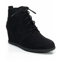 Qupid Women's Lace Up Faux Suede Ankle Wedge Booties BLACK