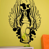 Vinyl Wall Decal Sticker Graffiti Can With Wings #1469