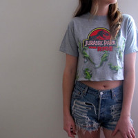 Jurassic Park Crop Top Cropped Tee Shirt Womens Midriff Universal Studios 90s Dinosaur Movies Summer