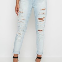 Destroyed Cuffed Mid Rise Jegging | Jeggings | rue21
